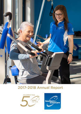 A photo of a Health & Wellness staff member is assisting a client at the gym is on the cover of the 2017 - 2018 Annual report.